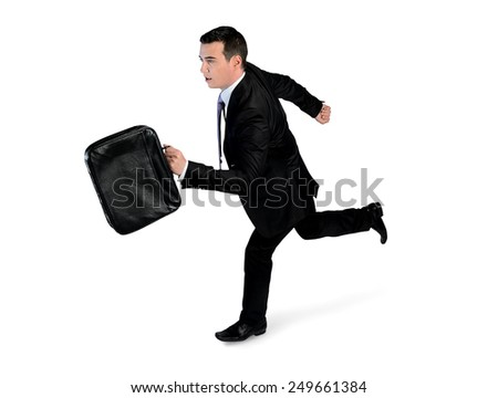 Isolated business man running side