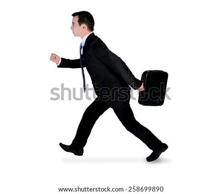Isolated business man running side - stock photo