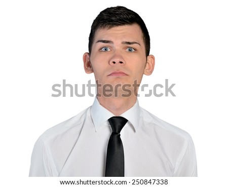 Isolated business man sad face