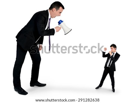 Isolated business man screaming on megaphone - stock photo