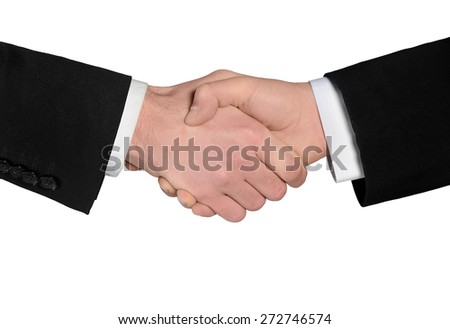 Isolated business man shake hands closeup - stock photo