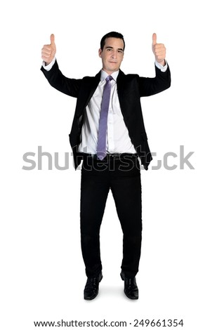Isolated business man showing ok sign - stock photo