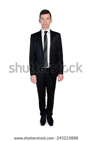Isolated Business man standing serious - stock photo
