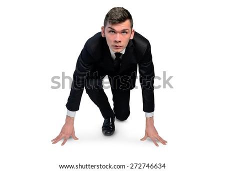 Isolated business man start run position - stock photo