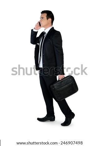 Isolated business man talk phone - stock photo