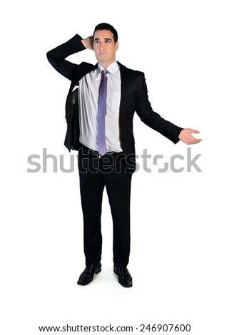 Isolated business man thinking solution - stock photo