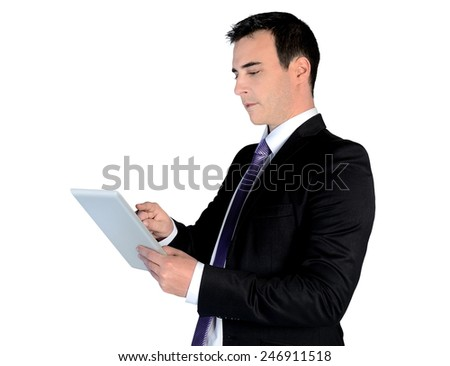Isolated business man using tablet