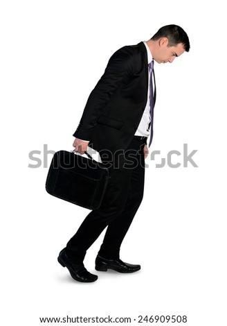Isolated business man walk depressed - stock photo