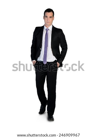 Isolated business man walk forward