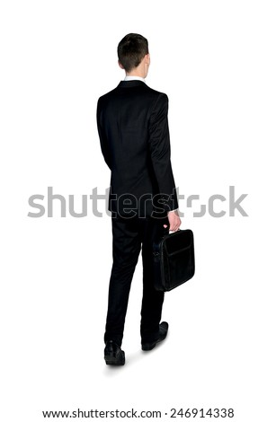 Isolated business man walking back view - stock photo