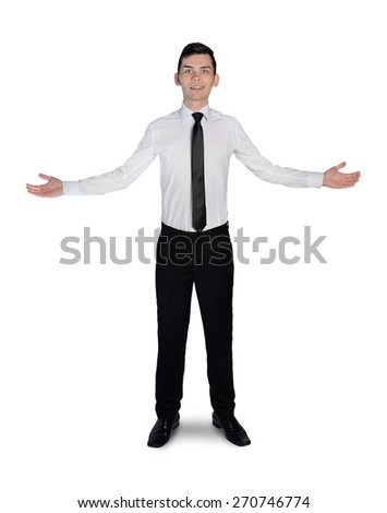 Isolated business man welcome gesture - stock photo