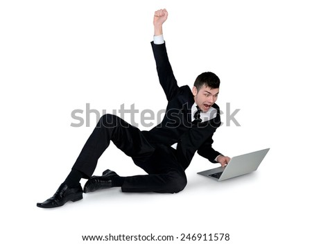 Isolated business man winner with hands up