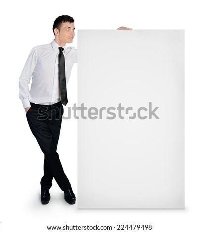 Isolated business man with empty banner