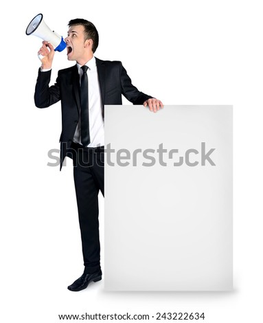 Isolated business man with empty banner - stock photo