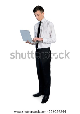 Isolated business man with laptop - stock photo