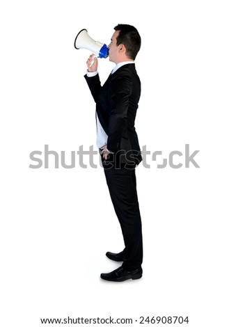 Isolated business man with megaphone