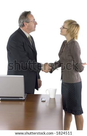 isolated business staff in the office - handshake