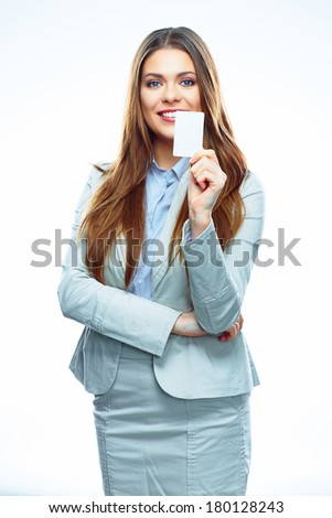 Isolated business woman. Credit card. White background.