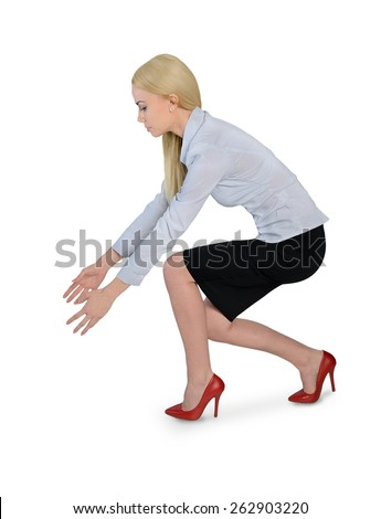 Isolated business woman grab something - stock photo