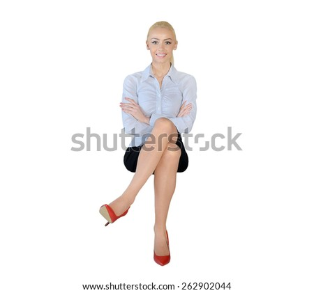 Isolated business woman happy looking camera - stock photo