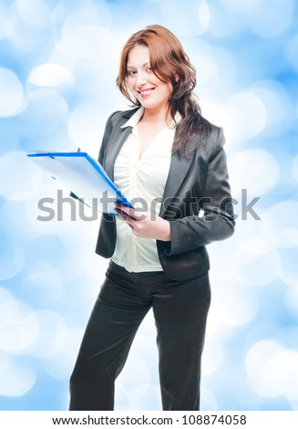 isolated business woman holding a portfolio over white - stock photo