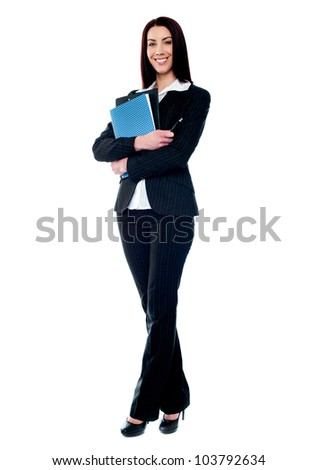 Isolated business woman holding documents. Full length portrait - stock photo
