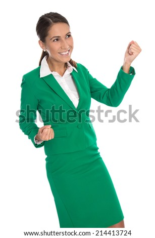 Isolated business woman in green celebrating her success. - stock photo