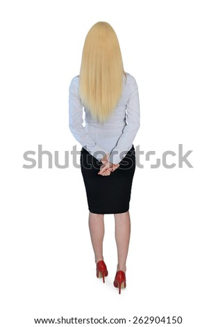 Isolated business woman looking back - stock photo