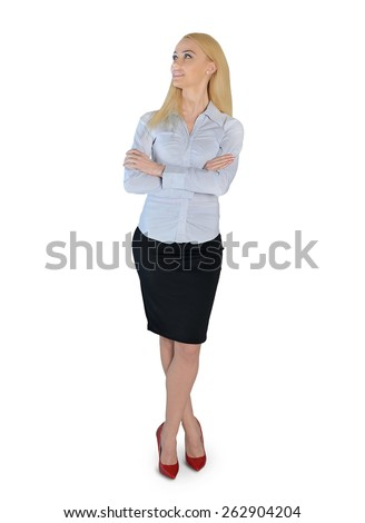 Isolated business woman looking up - stock photo