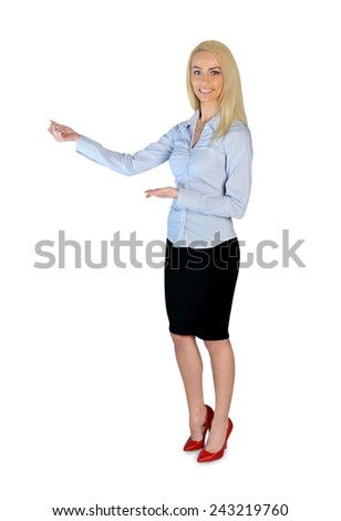 Isolated business woman presenting something - stock photo