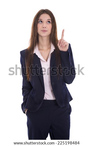 Isolated business woman presenting with her finger over white background. - stock photo
