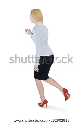 Isolated business woman run side - stock photo