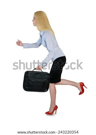 Isolated business woman run side view - stock photo