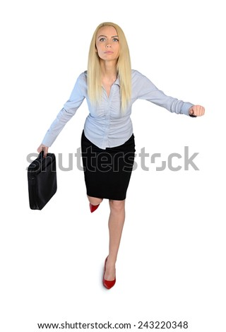 Isolated business woman run with briefcase - stock photo