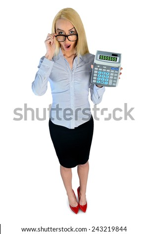 Isolated business woman surprised with hand calculator - stock photo