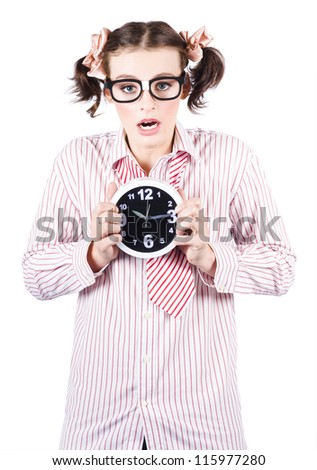 Isolated Business Woman Wearing Nerd Spectacles With A Expression Of Stress While Carrying Alarm Clock - stock photo