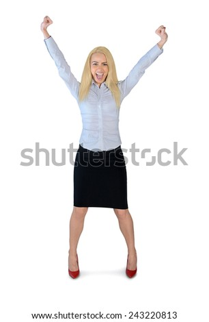 Isolated business woman winner with hands up