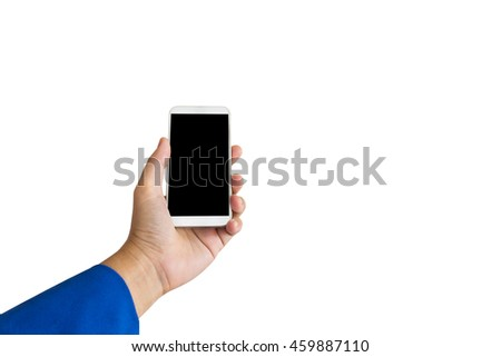Isolated business women hand holding cellphone or smartphone or mobile phone on white background with cipping path, blank screen mobile phone in women hand