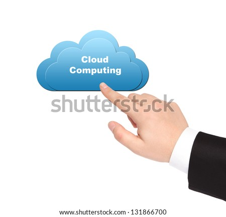 isolated businessman hand synchronizes data on computer cloud - stock photo