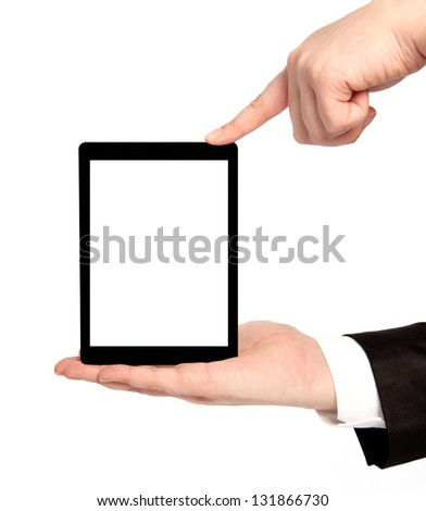 isolated businessman hands holding tablet computer with isolated screen - stock photo
