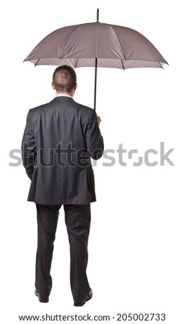 isolated businessman hold classic  umbrella