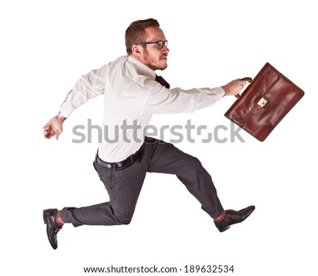 isolated businessman in jump pose