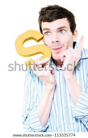 Isolated Businessman Pointing To The Sky With Success While Holding The Letter S For Solution On White Background - stock photo