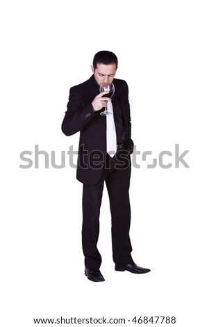 Isolated businessman smelling a glass of wine
