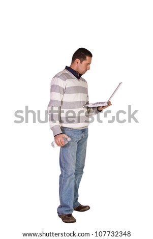 Isolated Businessman standing with his Notebook - White Background - stock photo