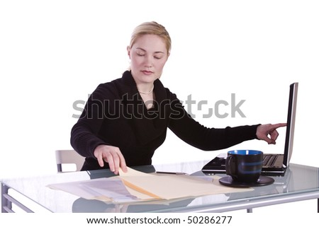Isolated Businesswoman At Her Desk Working - White Background - stock photo