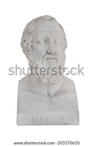 Isolated bust of Platon (died 348 before Christ) - sculpture in the Archilleion of Corfu palace in Greece. - stock photo