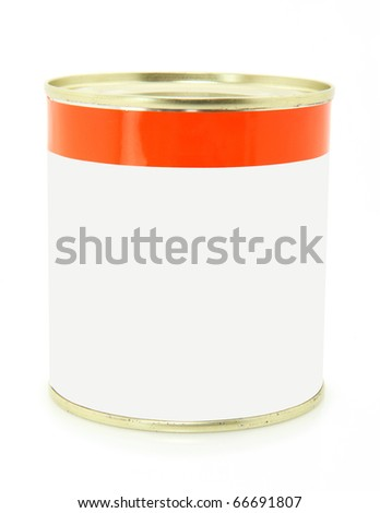 Isolated Can Over White With Room For Copy Space - stock photo