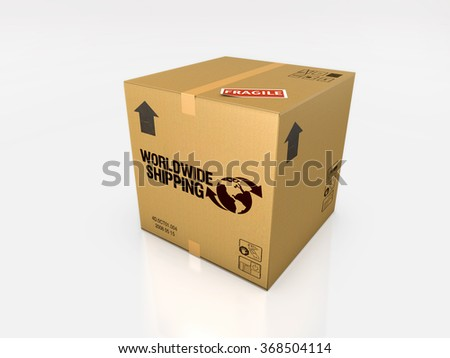 isolated cardboard box on white background