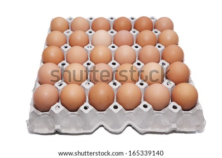 isolated carton box of egg in white background - stock photo
